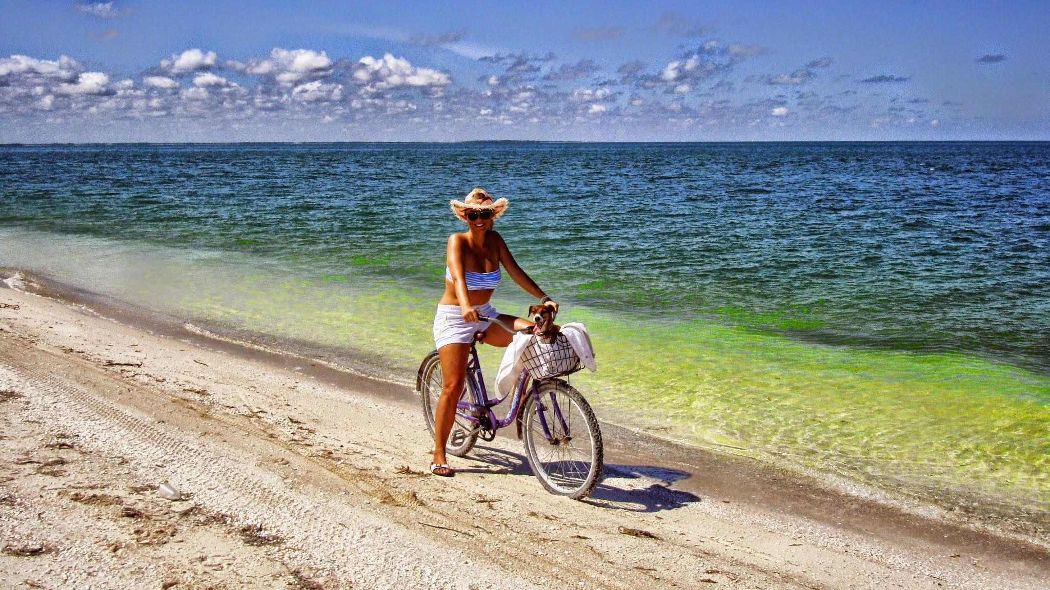 In Bici Sul Lungo Mare Dellisola Di Holbox Messico Coppie Da
